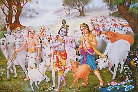 Krishna and Balarama with  gopas and cows