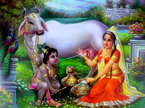 Sri Krishna with two of His mothers: Yashoda and Go-mata