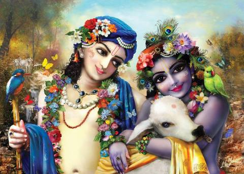 Krishna and Balarama with a cow